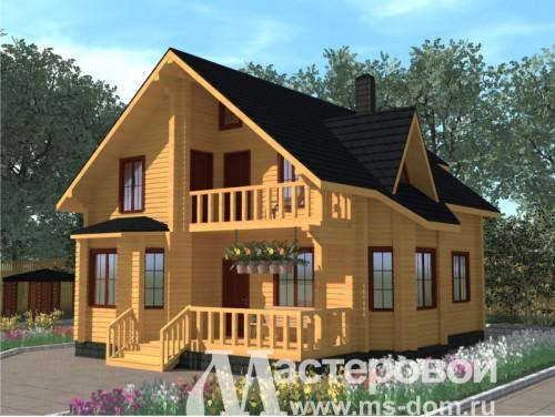 Дома из бруса с мансардой и балконом фото