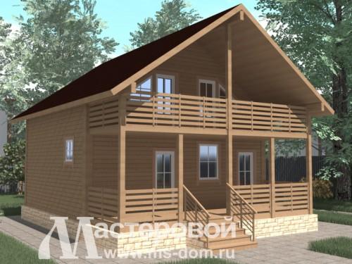 Проекты двухэтажных домов из бруса с балконом.
